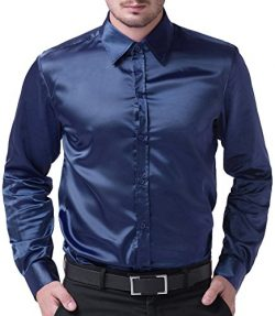 PAUL JONES Men's Slim Fit Silk Like Satin Luxury Dress Shirt