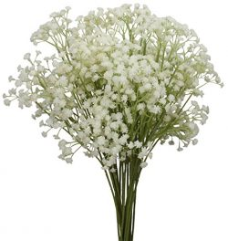 Duovlo 10pcs Babies Breath Flowers 23.6″ Artificial Gypsophila Bouquets Real Touch Flowers ...