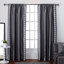 Exclusive Home Curtains Tiffany Faux Silk Rod Pocket Window Curtain Panel Pair, Black Pearl, 54& ...