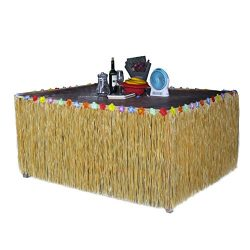 Homedeco Hawaiian Grass Table Skirt Luau Hibiscus Green String & Colorful Silk Faux Tropical ...