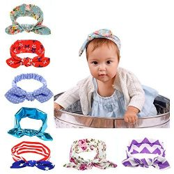 7 Packs New Born Baby Toddler Girls' Headband Hair Band Tie,Turban Knotted