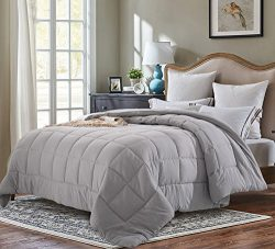 Evolive All Season Pre Washed Soft Microfiber White Goose Down Alternative Comforter (Grey, Full ...