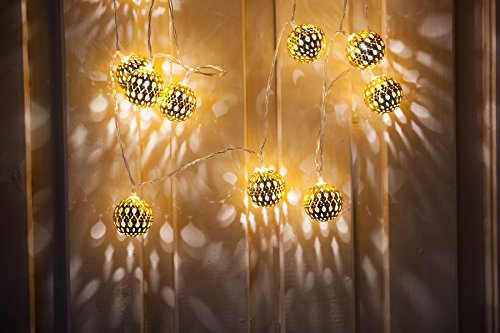 WED 7.4ft 16 LED Moroccan Ball Battery String Light, Fairy Moroccan Globe Ball String Light For  ...