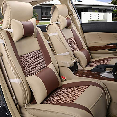 Universal PU Leather Front and Rear Car Seat Cushion Cover 10PCS Full Set Needlework Ice Silk Se ...