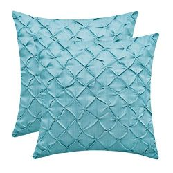The White Petals Teal Cushion Covers (Faux Silk, Pinch Pleat, 16×16 inch, Pack of 2)