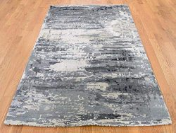 "4'x5'10"" Hi-Low Pile Abstract Design Wool And Silk Hand-Knotted Rug G43240"