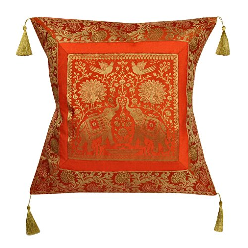 Lalhaveli Orange Color Indian Handmade Design Sofa Decoration Single Silk Cushion Cover 18 x 18 Inch