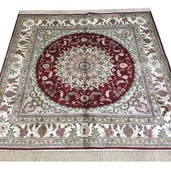 Yilong 5'x5′ Vintage Red Persian Rugs Handmade Silk Tabriz Carpet for Home Office