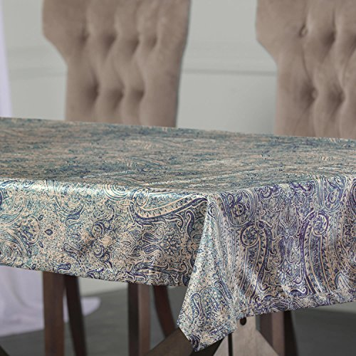 PTPCH-170804-TC-120 Wilton Designer Faux Silk Taffeta Table Cloth, Blue, 54 x 120