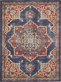 Unique Loom Utopia Collection Traditional Medallion Vintage Warm Tones Dark Blue Area Rug (9&#82 ...