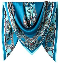 40″ Women Twill Satin Polyester Silk Feeling Square Hair Wrapping Sleeping Square Scarfs A ...