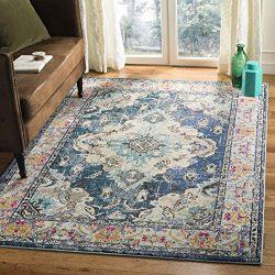 Safavieh Monaco Collection MNC243N Vintage Bohemian Navy and Light Blue Distressed Area Rug (6&# ...