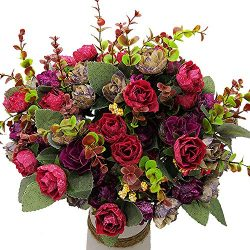Grunyia Artificial Fake Flowers Silk Tiny Rose Flowers Wedding Bridal Bouquet Home Decoration,Pa ...