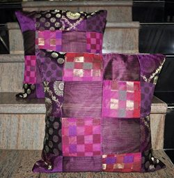 Lalhaveli Jaipuri Handmade Patchwork Design Jacquard Silk Cushion Cover 16 X 16 Inches Set of 2 Pcs