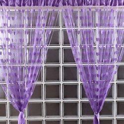 Blue Sheer Curtains Window Curtains Blue -Home & Kitchen 200cm x 100cm Silk String Curtain b ...