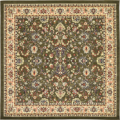 Unique Loom Kashan Collection Traditional Floral Overall Pattern with Border Green Square Rug (8 ...