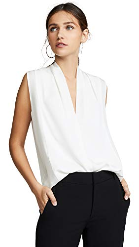 Vince Women's Sleeveless Drape Neck Blouse, Off White, Medium
