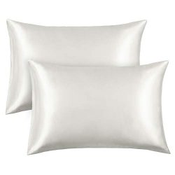 FAMIROSA Silk Satin Pillowcase 2 Pack, Queen Satin Bedding Sets Pillow Cover Preventing Hair Kno ...
