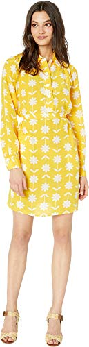 Juicy Couture Women's Silk Marigold Floral Dress Sunlit/Marigold Flower X-Large
