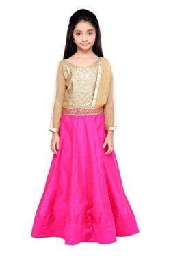 K&U Girls' Gold and Rani Pink Sequins and Silk Drape Style Anarkali Kurta