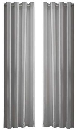 PLAIN FAUX SILK SILVER GREY 90″ X 90″ – 229CM X 229CM RING TOP CURTAINS DRAPES