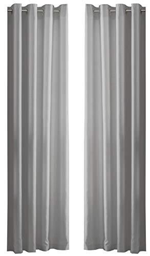 PLAIN FAUX SILK SILVER GREY 90″ X 90″ – 229CM X 229CM RING TOP CURTAINS DRAPES