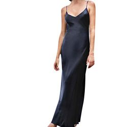 TIFENNY Women's Milk Silk Soft Dresses Fashion Sexy Solid Sleeveless Backless Open Fork Long Str ...