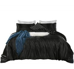 Black Bedding Silk Like Satin Duvet Cover Set Solid Color Quilt Cover Luxury Black Bedding Sets  ...