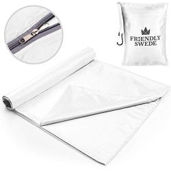 The Friendly Swede Travel and Camping Sheet Sleeping Bag Liner (White w/Zipper)