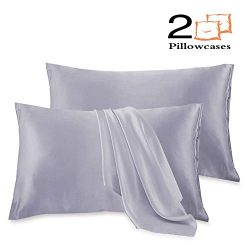 Leccod 2 Pack Silky Satin Pillowcase for Hair and Skin Cool Super Soft and Luxury Pillow Cases C ...