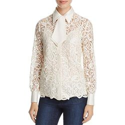 Tory Burch Womens Rosie Lace Silk Button-Down Top Ivory 6