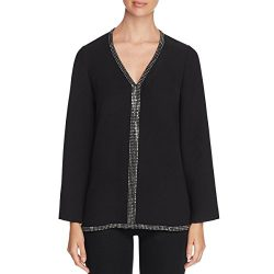 Tory Burch Womens Silk Embellished Tunic Top Black 8