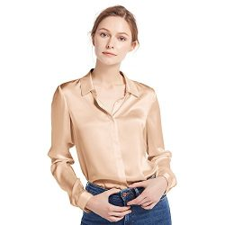 LilySilk Women's 100 Silk Blouse Natural Long Sleeve Lady Shirt 22 Momme Pure Charmeuse Si ...