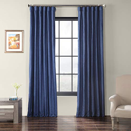 HPD Half Price Drapes SSCS-180737-84 Faux Shantung Silk Curtain 50 x 84 Swallow Tail Blue