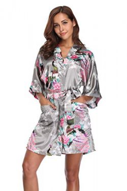 Mignon Cromwell Women's Short Bridesmaids Robe Floral Satin Kimono Dressing Gown with Pock ...