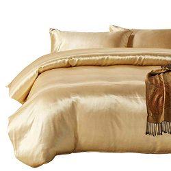 HOTNIU Full Satin Silk Duvet Cover Set with Zipper Closure – Quality Ultra Soft Premium 3  ...