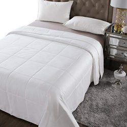 THXSILK Washable Summer Comforter 100% Natural Mulberry Silk Filled in White Cotton Cover, Twin  ...