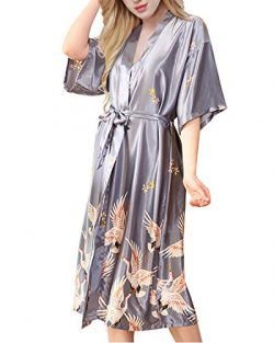 ETAOLINE Womens Satin Kimono Robe Printed Bathrobes Bridal Dressing Gown