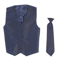 Vest and Clip On Boy Necktie set – NAVY BLUE – 12/14