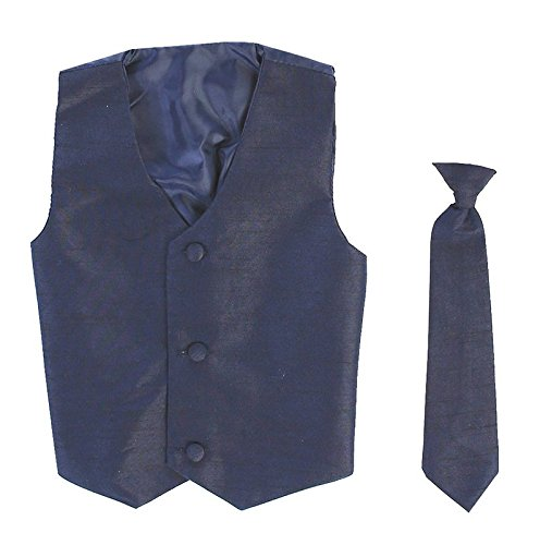 Vest and Clip On Boy Necktie set – NAVY BLUE – 12/14