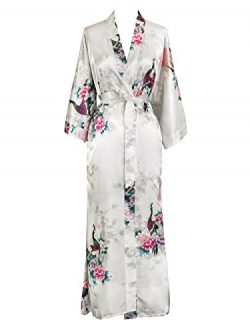 Old Shanghai Women's Kimono Long Robe – Peacock & Blossoms – White,One Siz ...