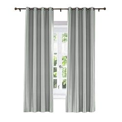 ChadMade Elegant Vintage Polyester Cotton Silk Solid Curtain Light Grey 84″ W x 102″ ...