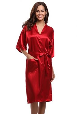 Aibrou Women's Kimono Robe Dressing Gown Long Classic Satin Wedding Nightwear,Wire Red,Large