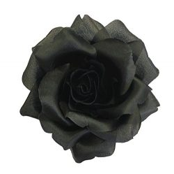 Silk Rose Flower Pin Brooch Black Silk Flower Hand-made in New York's Garment Center (Amer ...
