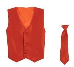 Vest and Clip On Boy Necktie set – BURNT ORANGE – 12/14