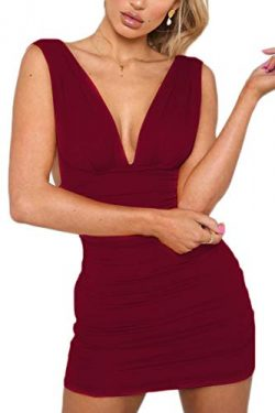 Symptor Womens Sexy Backless Bodycon Mini Dress V Neck Party Nightout Outftis Dress Wine Red XL