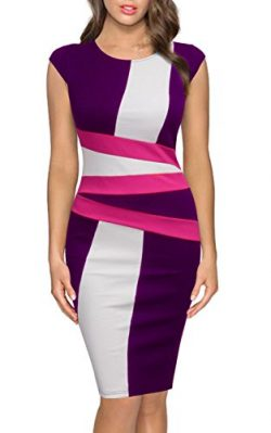 FORTRIC Women Round Neck Sleeveless Elegant Wear to Work Pencil Party Dress Purple XXL
