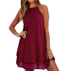 HGWXX7 Women Summer Casual Plus Size Solid Chiffon Strap Beach A-Line Mini Dress (L, Wine)