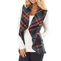 CUCUHAM Womens Vest Plaid Sleeveless Lapel Open Front Cardigan Sherpa Jacket Pockets Winter(Y2-G ...