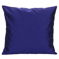The White Petals Set of 2 Indigo Blue Art Silk Pillow Covers, Plain Silk Cushion Cover, Solid Co ...